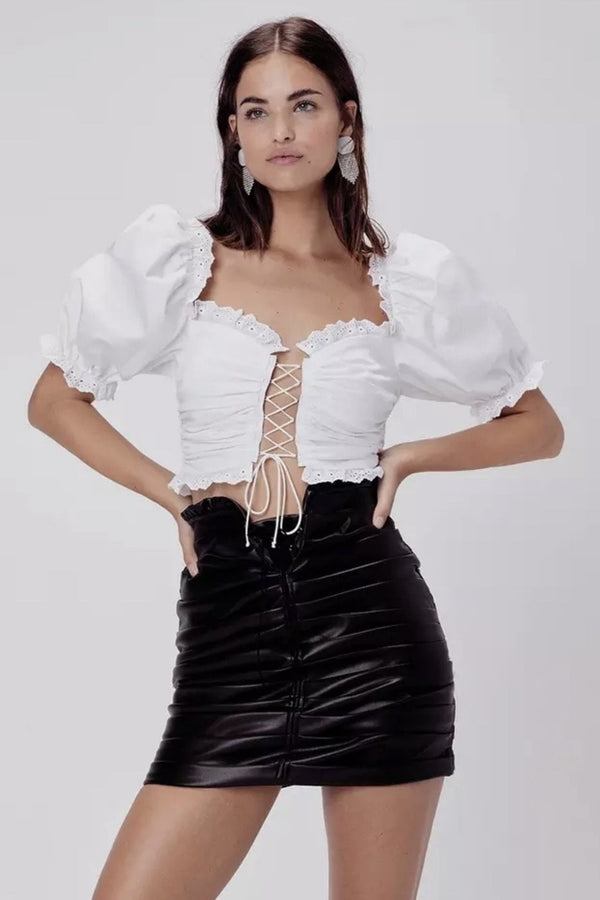 Jessica Bara Dalary Puff Shoulder Lace Up Crop Top