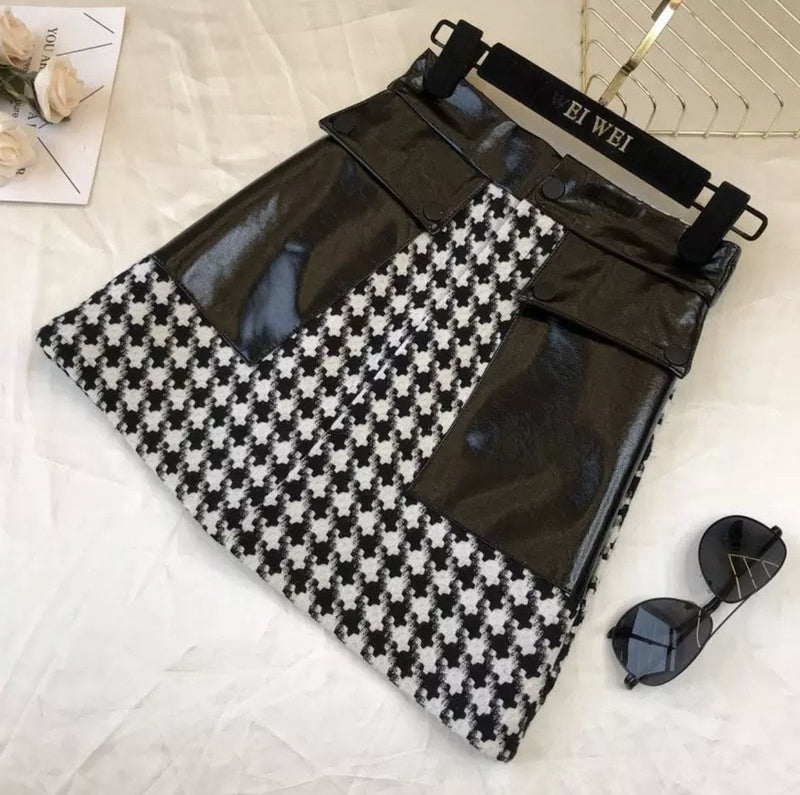 Jessica Bara Carrie Houndstooth Patent Leather Mini Skirt