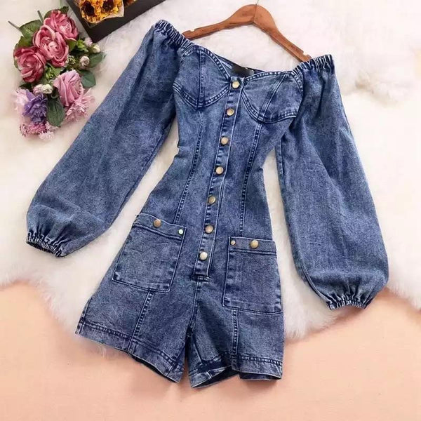 Jessica Bara Karla Denim Long Sleeve Romper