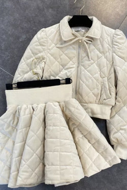 Jessica Bara Dominic Quilted Jacket And Skirt Two Piece Set