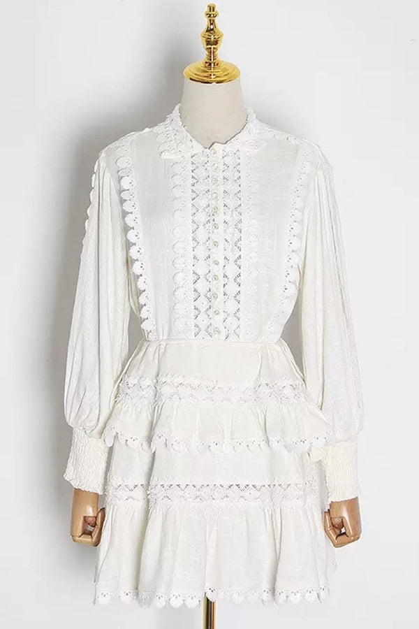 Jessica Bara Saint Long Sleeve Embroidered Mini Dress