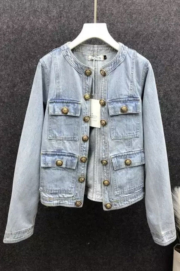 Jessica Bara Blaise Gold Button Denim Jacket