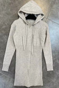 Jessica Bara Katherine Long Sleeve Hooded Knit Dress