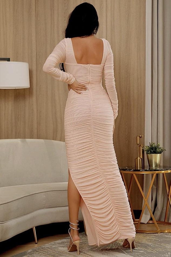 Jessica Bara Melanie Long Sleeve Ruched Maxi Dress