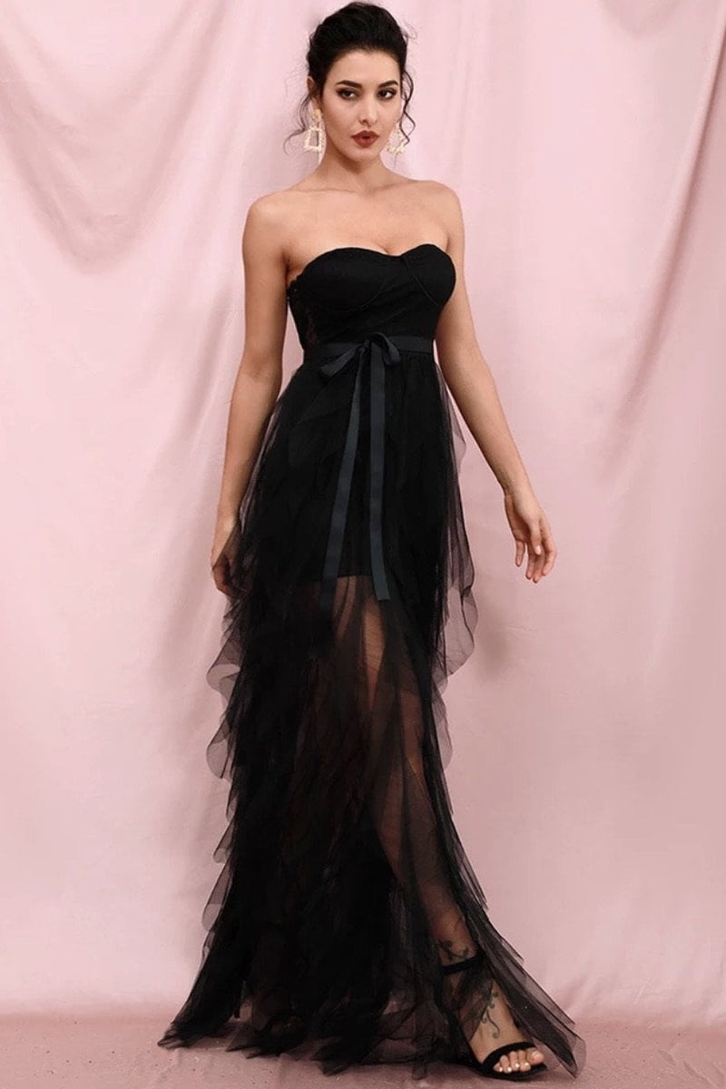 Jessica Bara Lori Strapless Tulle Belted Gown