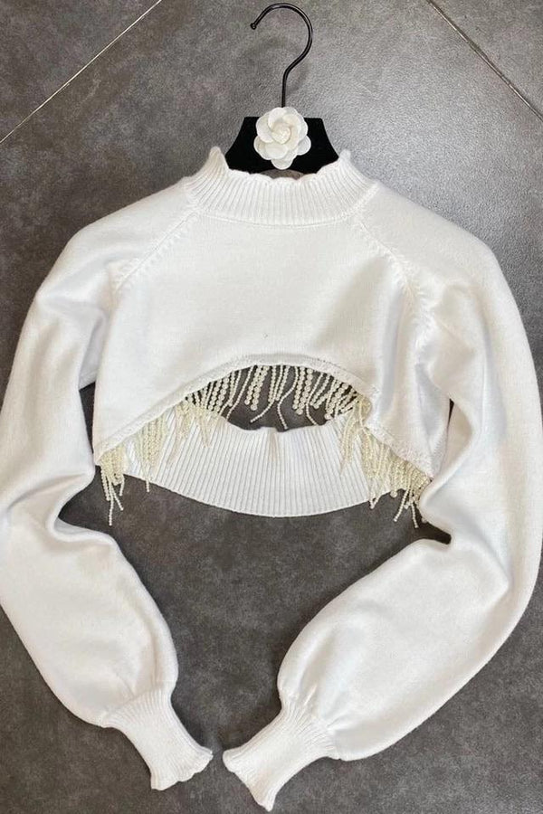 Jessica Bara Paige Pearl Embellished Extreme Crop Top