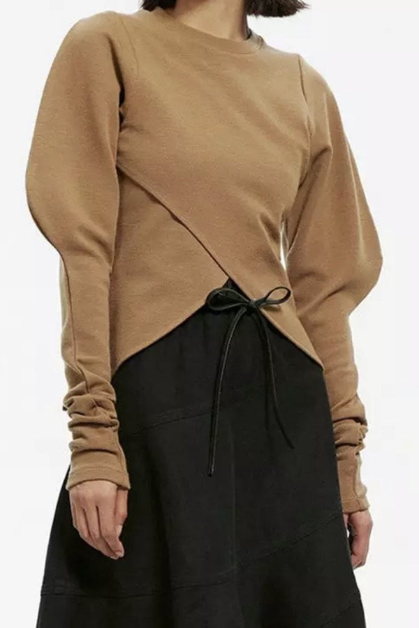 Jessica Bara Isaias Long Puff Sleeve Knit Top