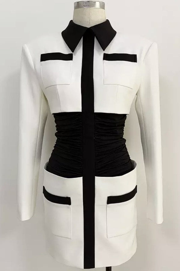 Jessica Bara Perry Long Sleeve Color Block Mini Dress