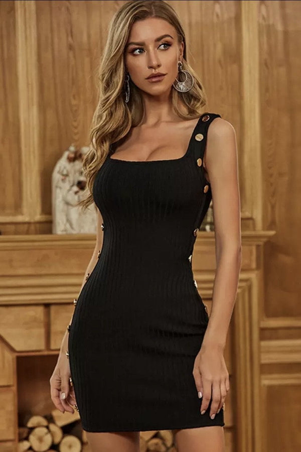 Jessica Bara Casey Button Bandage Mini Dress
