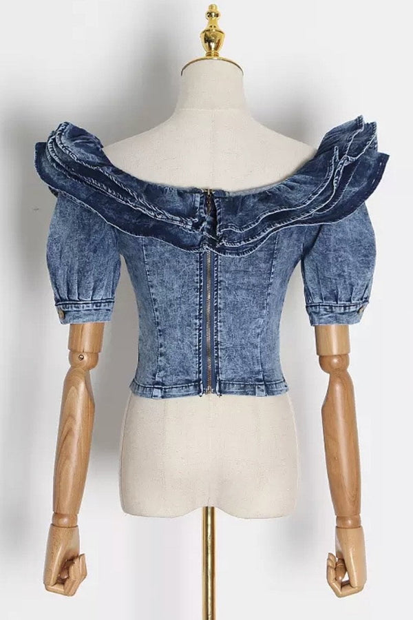 Jessica Bara Giulia Denim Ruffle Crop Top