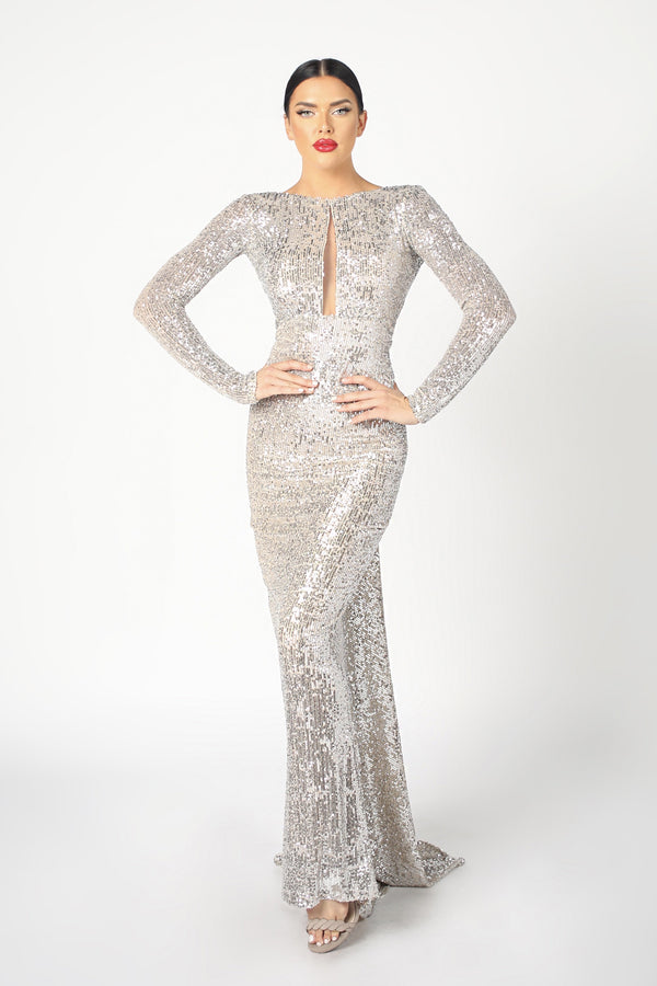 Nicole Bakti Long Sleeve Sequin Backless Gown