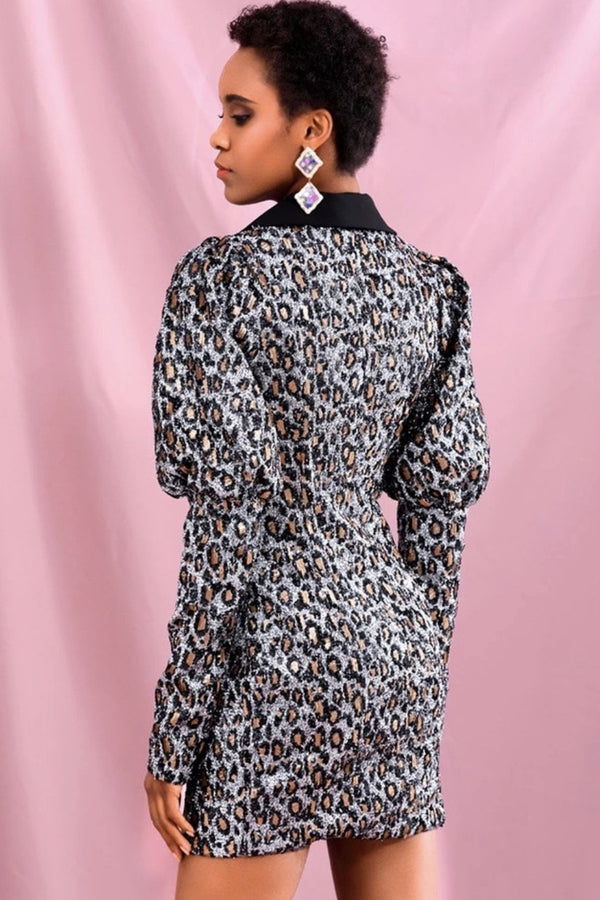 Jessica Bara Sami Sequin Leopard Blazer Mini Dress