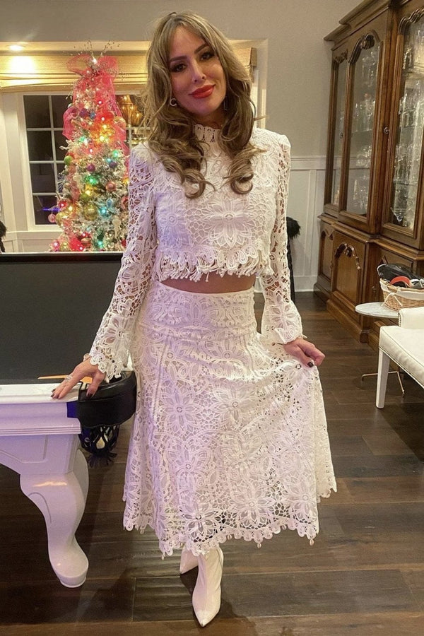 Jessica Bara Marla Lace Top And Skirt Two Piece Set