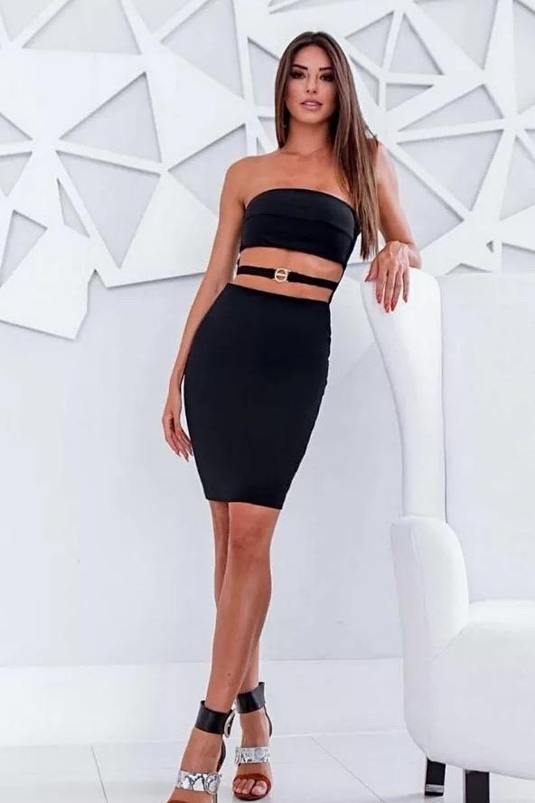 Jessica Bara Fay Strapless Cut Out Bandage Dress