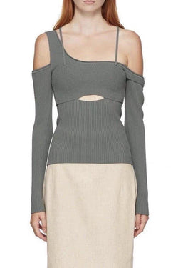 Jessica Bara Levi Off The Shoulder Long Sleeve Top