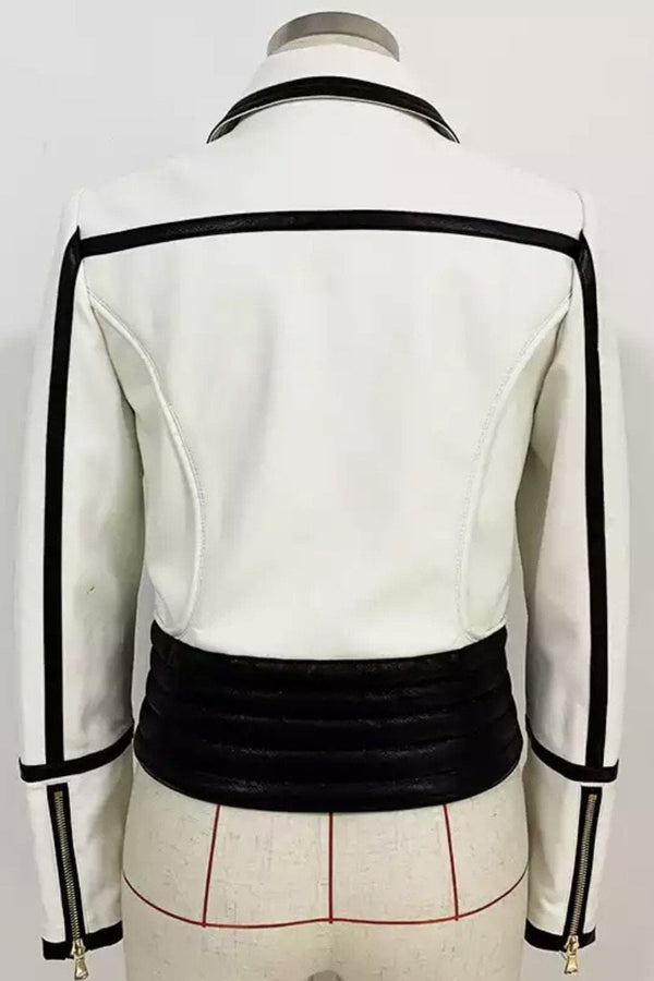 Jessica Bara Alex Color Contrast Leather Jacket