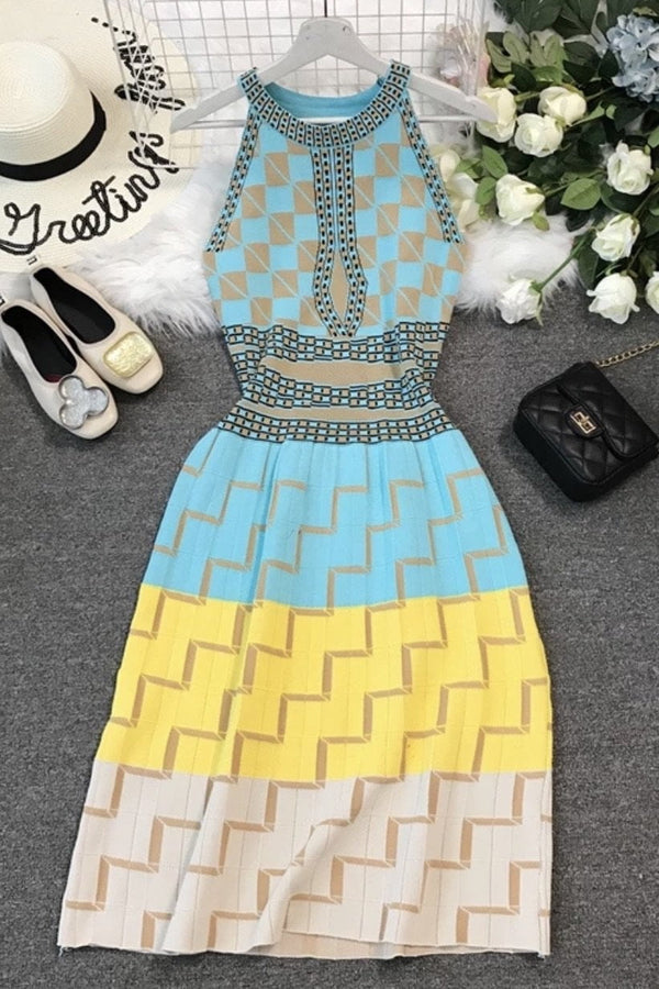 Jessica Bara Elliot High Neck Printed Midi Dress