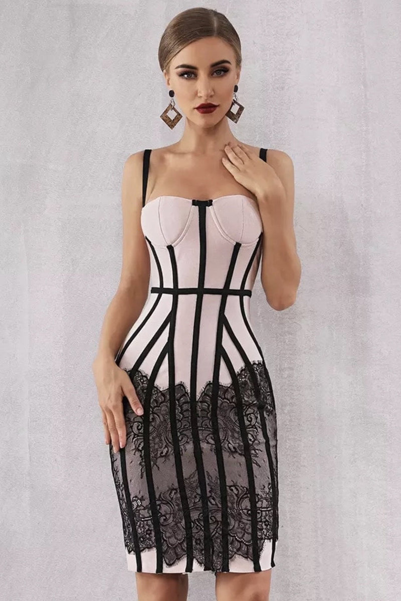 Jessica Bara Caleigh Corset Lace Bandage Dress