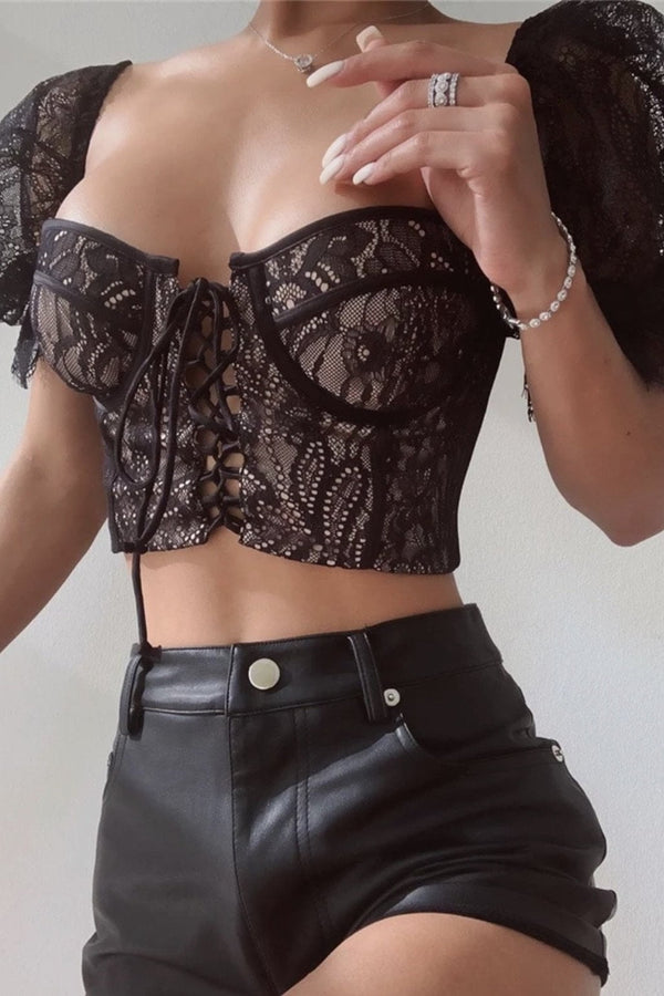 Jessica Bara Angelica Lace Bustier Crop Top