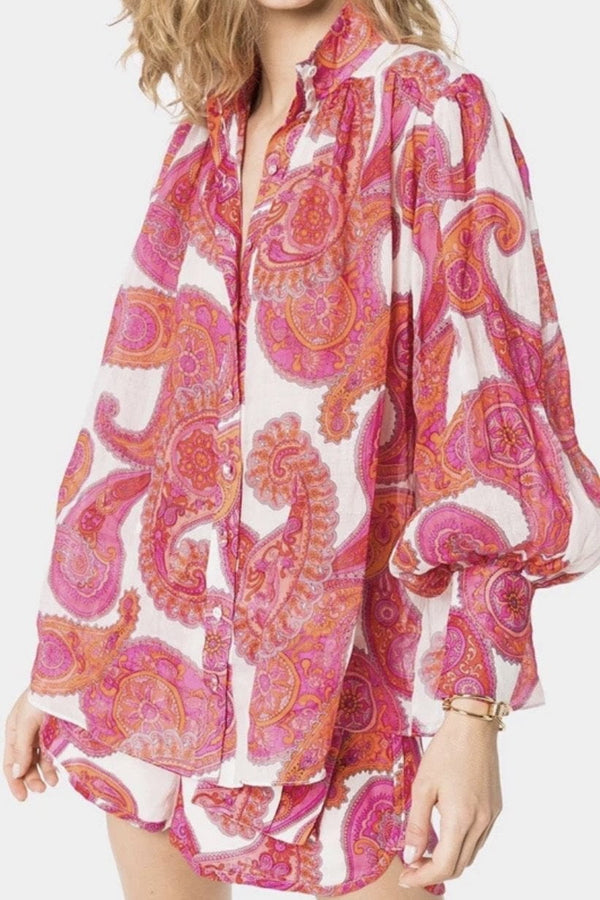 Jessica Bara Kailey Retro Printed Linen Two Piece Set