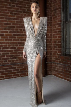 Jessica Bara Abela Long Sleeve Sequin V Neck Gown