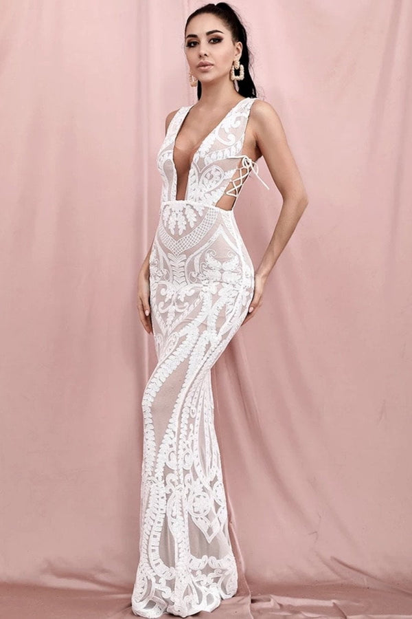 Jessica Bara Daniella Lace Cut Out Bodycon Gown