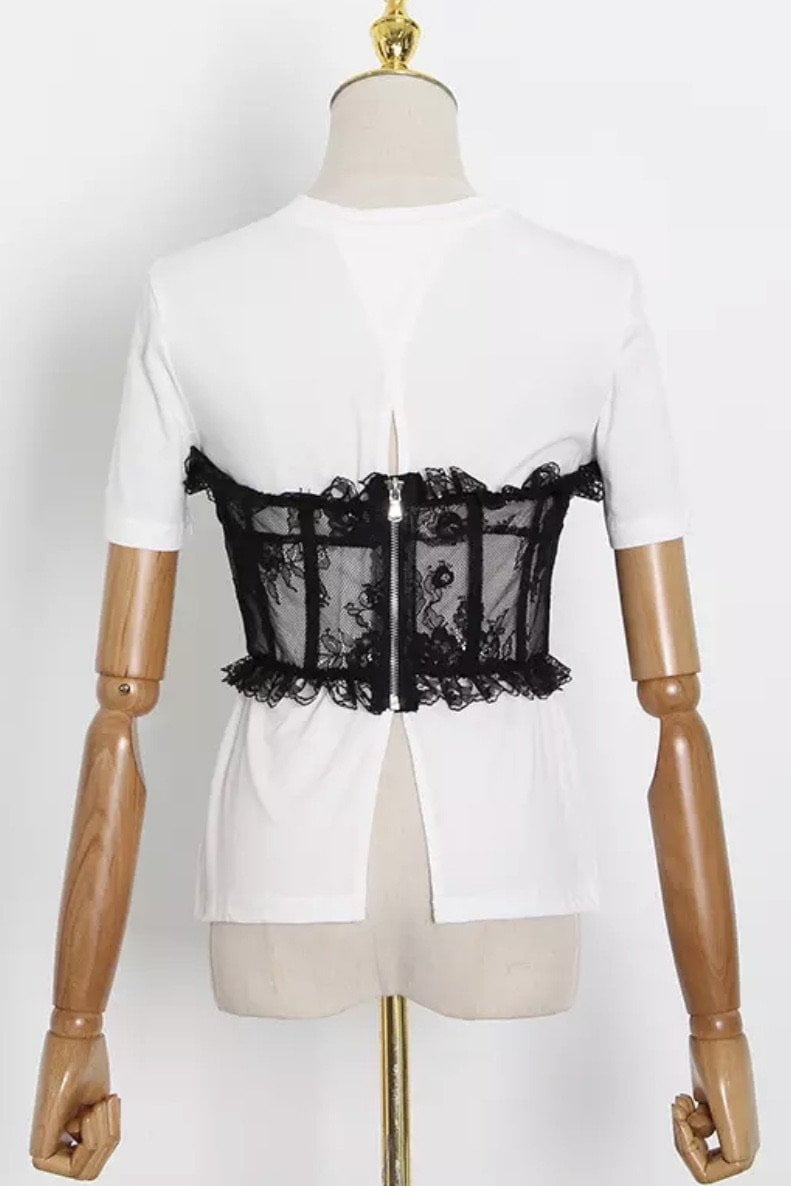 Jessica Bara Asher Corset Lace Short Sleeve Top