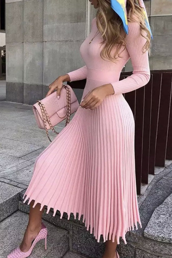 Jessica Bara Maxwell Long Sleeve Pleated Midi Dress
