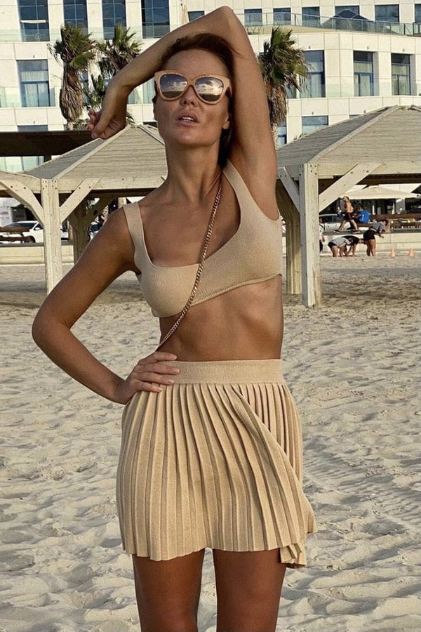 Jessica Bara Opal Crop Top and Pleated Skirt Two Piece Set