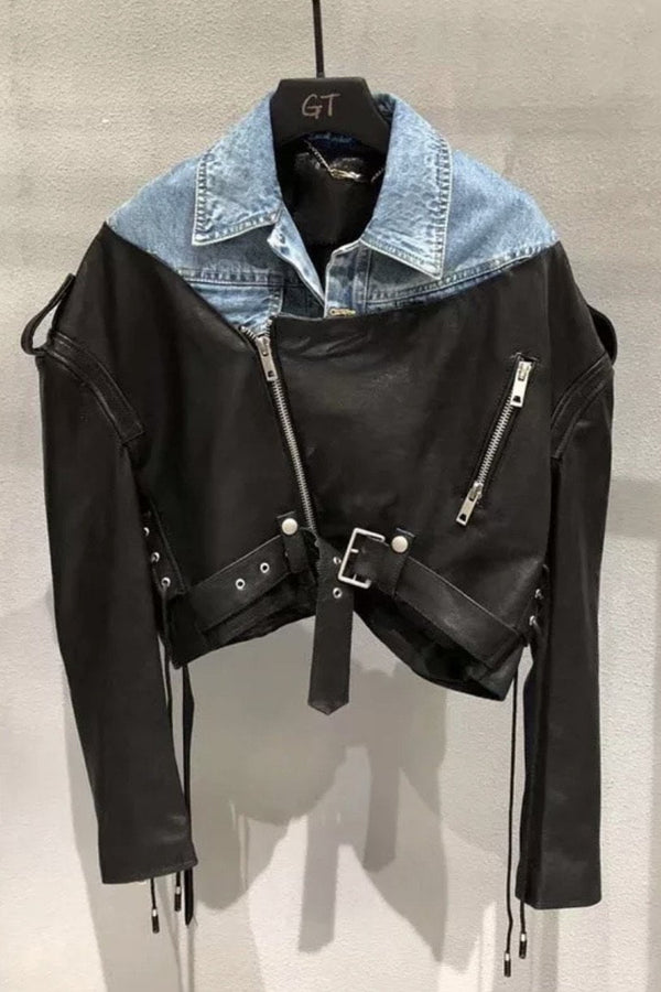Jessica Bara Queen Denim And Leather Cropped Jacket