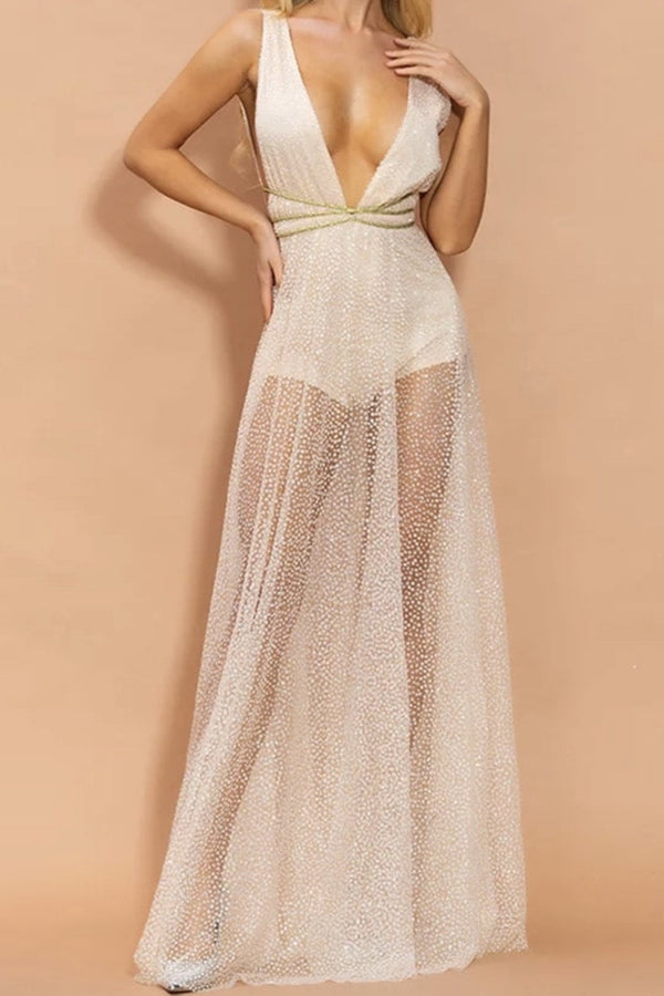 Jessica Bara Gracen Sheer Glitter Belted Maxi Dress