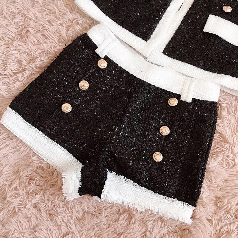 Jessica Bara Everlee Tweed Black and White Two Piece Set
