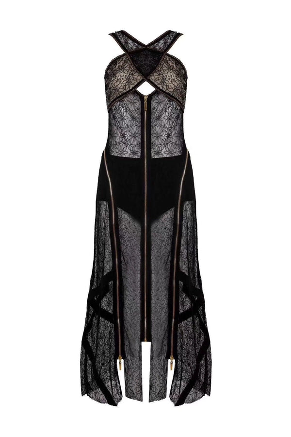 Jessica Bara Skyla Zipper Lace Cut Out Dress