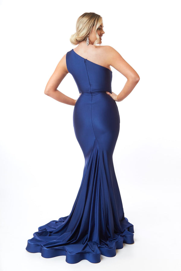 Atria One Shoulder Cross Waistband Gown