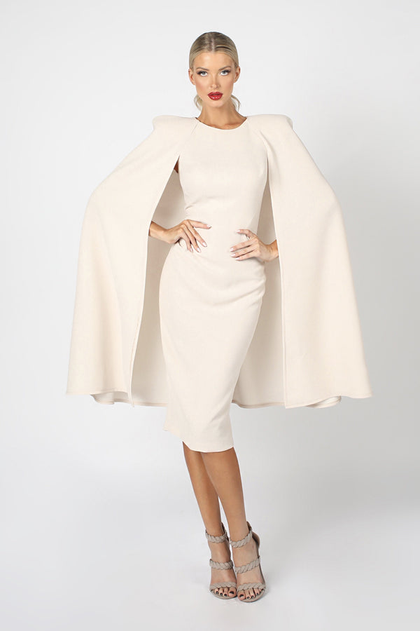 Nicole Bakti Split Sleeve Bodycon Midi Dress