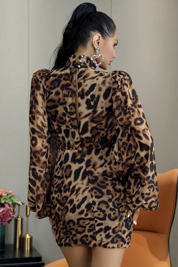 Jessica Bara Joyce Long Sleeve Leopard Mini Dress