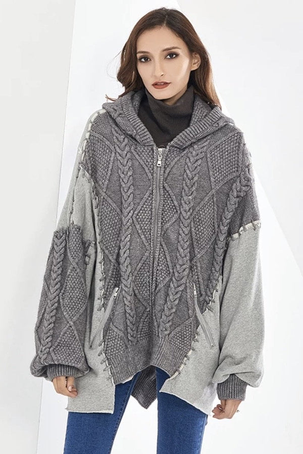 Jessica Bara Sienna Cable Knit Zip Up Jacket