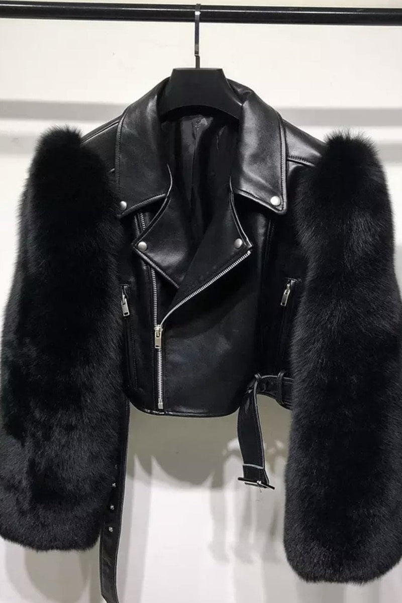 Jessica Bara Valentina Leather & Fur Cropped Jacket