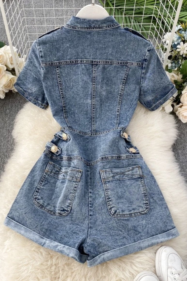 Jessica Bara Kingston Short Sleeve Denim Romper