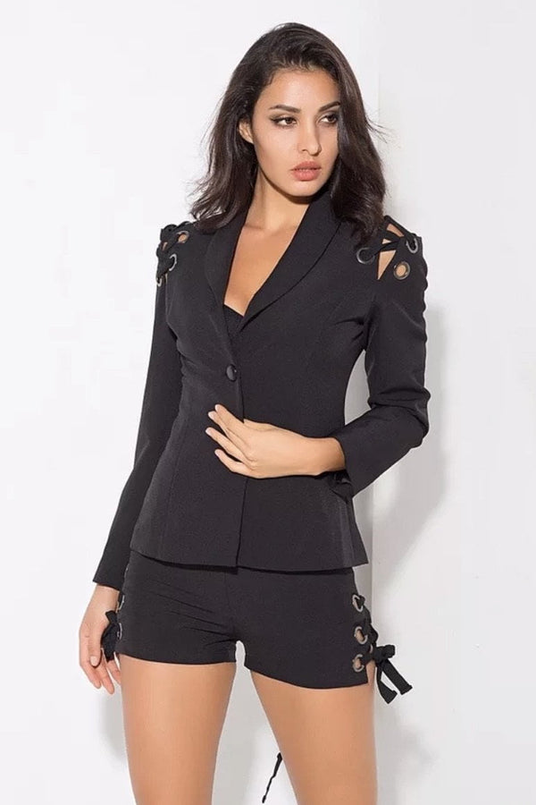 Jessica Bara Drew Metal Ring Blazer And Short Two Piece Set