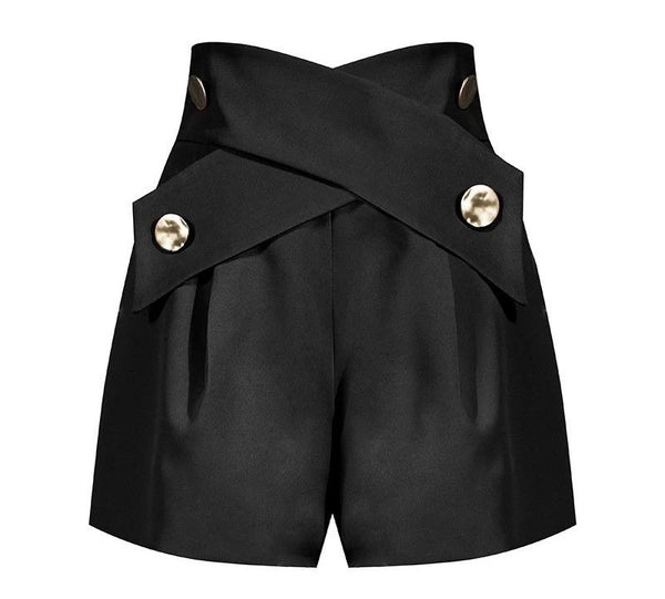 Jessica Bara Suri High Waisted Gold Button Shorts