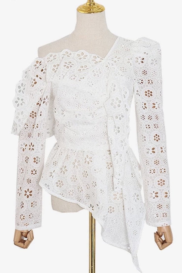 Jessica Bara Elizabith One Shoulder Eyelet Top