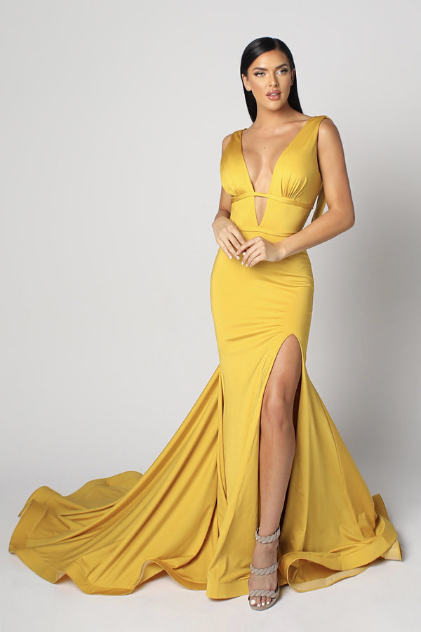 Nicole Bakti V Neck Ruched Backless Bodycon Gown