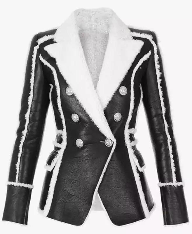 Jessica Bara Donatella Faux Leather and Fur Blazer