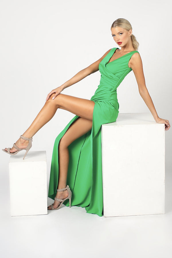 Nicole Bakti V Neck Ruched Bodycon Gown