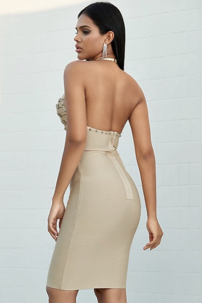 Jessica Bara Jayana V Neck Backless Midi Dress
