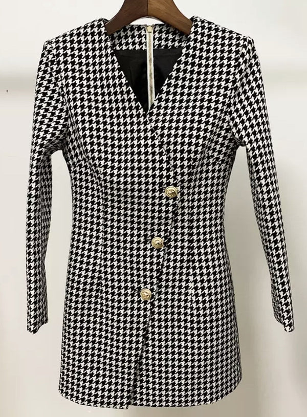 Jessica Bara Jacky Houndstooth Blazer Mini Dress