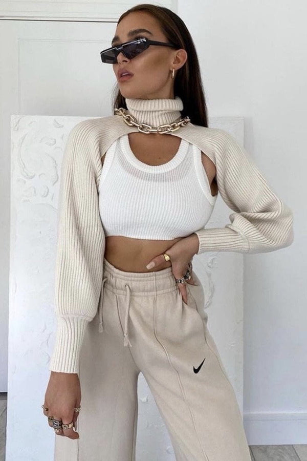 Jessica Bara Kingsley Turtleneck Knit Extreme Crop Top