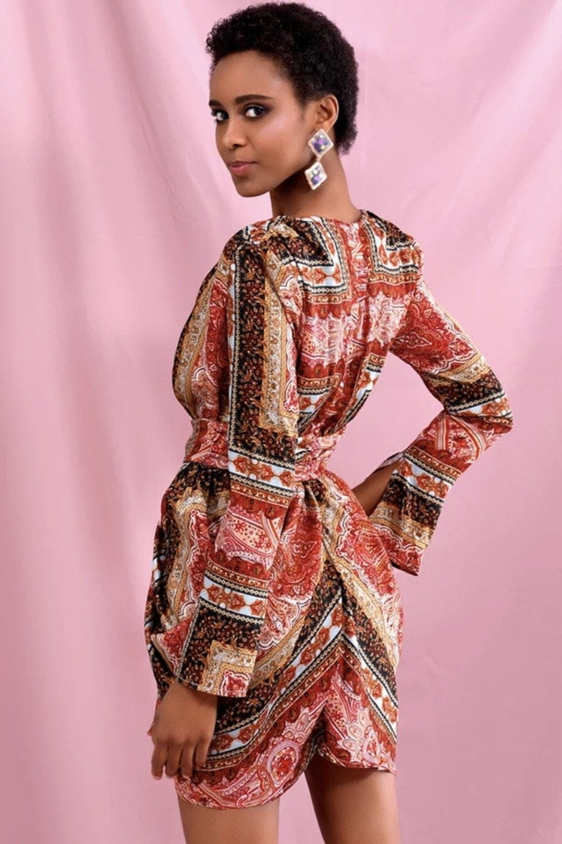 Jessica Bara Lillian Long Sleeve Vintage Print Mini Dress