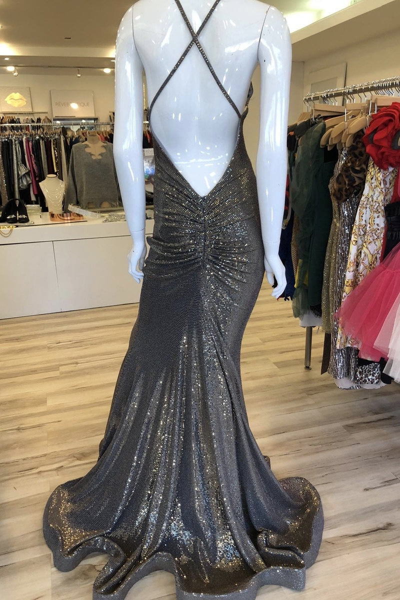 Jessica Bara Liz Sequin Open Back Gown